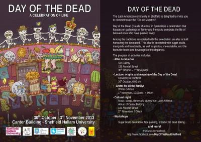Póster del Día de Muertos en Sheffield.
