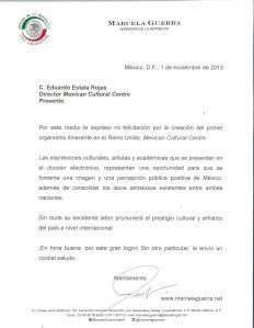 Carta de la senadora mexicana Marcela Guerra Castillo al Mexican Cultural Centre.