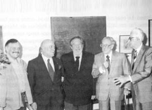 José Luis Cuevas, Eulalio Ferrer, Octavio Paz, Fernando Benitez y Raúl Anguiano. Foto: www.pangeaproducciones.com.mx/raulanguiano/