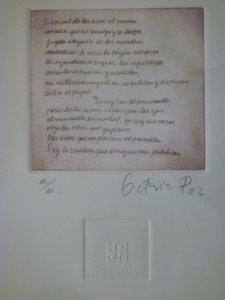 Un recuerdo de Octavio Paz, un poema grabado. Colección: Miguel Ángel Muñoz.