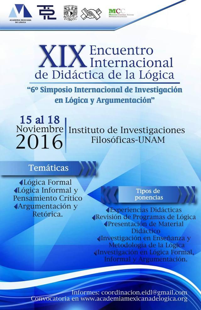 XIX Encuentro Internacional de Didáctica de la Lógica (EIDL), México.
