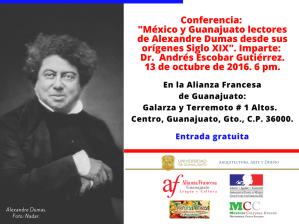 """Cartel de la conferencia: """"México y Guanajuato lectores de Alexandre Dumas desde sus orígenes Siglo XIX"""", del Dr. Andrés Escobar Gutiérrez."""