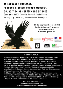 Para más información: http://jornadasmalditas.blogspot.mx/