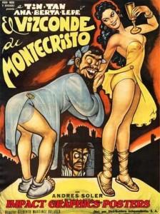 Cartel cómico del Vizconde de Montecristo (1954).